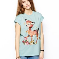 ASOS Boyfriend T-Shirt with Cute Deer Print