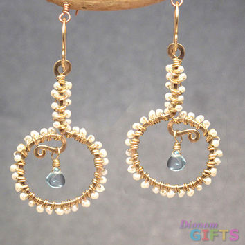 "Tiny ivory pearls wrapped around hammered drop shape, with swiss blue topaz, 1-3/4"" Earring Gold Or Silver"