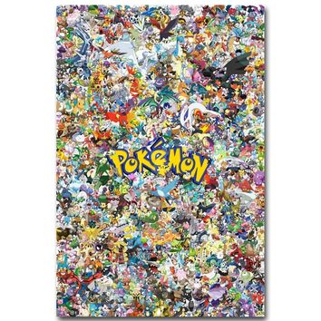 Pikachu -  All Monsters Art Silk Fabric Poster Print Pocket Monster Anime Picture for Living Room Wall Decoration 09Kawaii Pokemon go  AT_89_9