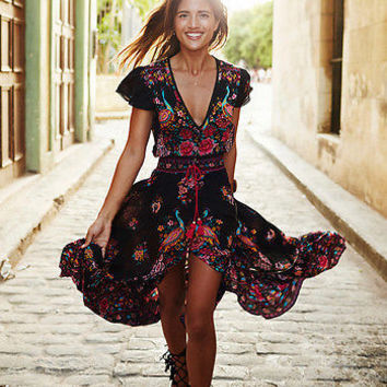 2017 summer style floral print dress Women evening party sexy long dresses Boho cross beach maxi dresses vestidos