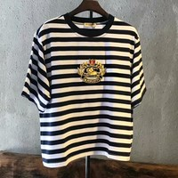 Burberry Fashion Women Men Casual Stripe Embroidery Short Sleeve Pure Cottom T-Shirt Top Black I-AA-XDD