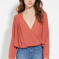 Surplice-Front Pleated Blouse