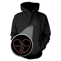 Broken Heart Hoodie Pocket Hooded Sweatshirt Graphic Print Sweater