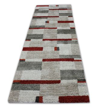 """Beige with Red, Rust & Ivory Rug Runner Size 2'10"""" X 9'11"""""""