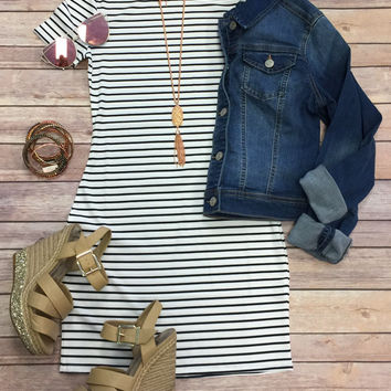 Ribbed Stripe Dress: Black