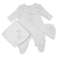 Little Me Unisex Baby Welcome To The World White Star Footie Set