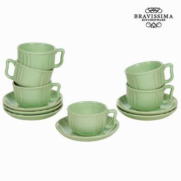Green cup and saucer set 6 - Kitchen's Deco Collection by Bravissima Kitchen