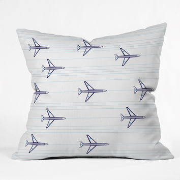 Vy La Airplanes And Stripes Outdoor Throw Pillow