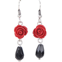 Rose Black Bead Drop Earrings