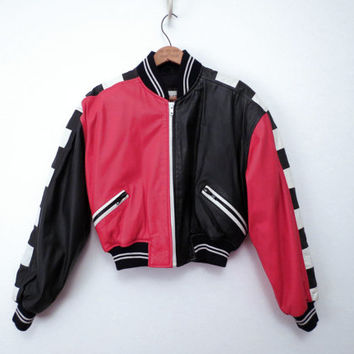Chia Leather Bomber Jacket Moto Jacket Graphic Bold Red Black and White Punk New Wave XS S M