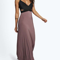 Black Spaghetti Strap Cut Out Color Block Maxi Dress