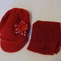 KNIT HAT AND SCARF SET Red  For $0.01 when you spend over $30.00