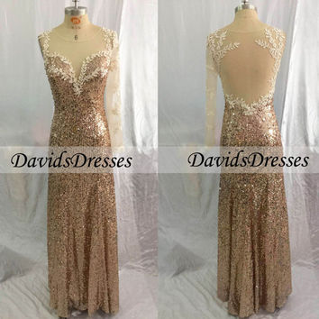 Backless Long Prom Dresses 2016, Fashion One Sleeve Gold Prom Dress With Sequin