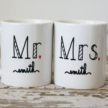 Mr and Mrs Coffee Mugs | Gift for Bride and Groom | Bride and Groom Mugs | Wedding Registry | Bridal Shower Gift | Wedding Gift