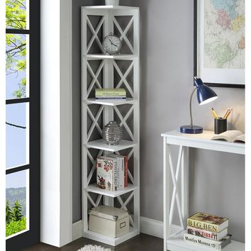 "Stoneford 5 Tier Corner 64"" Corner Unit Bookcase"