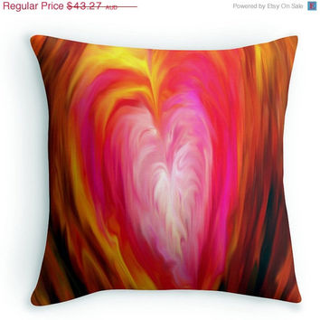 ON SALE Abstract Art Pillow, Throw Cushion, Cover, 16x16,  home decor, Expressionist, Red, Blue, Green, Yellow, Interior design,