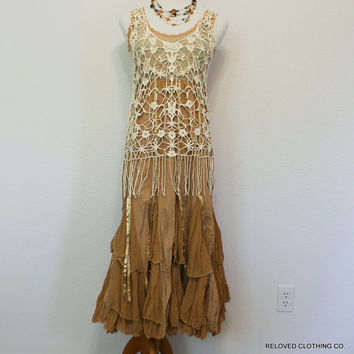 Festival Wear Boho Chic Women's Junior's Clothing / Bohemian Dress / Upcycled Clothes / Hippie Festi Meadow / Size Small