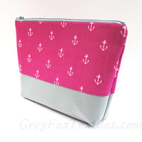 #Hot #pink, #gray #anchor #cosmetic #case, #makeup bag, zipper pouch
