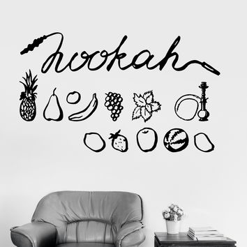 Vinyl Wall Decal Hookah Fruit Shisha Bar Arabic Decor Stickers Mural Unique Gift (ig3386)