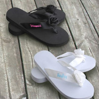 Personalized Black Flip-flops Wedding Gifts, Bridal Gifts, Bridal Shower Gift, Bachelorette Party