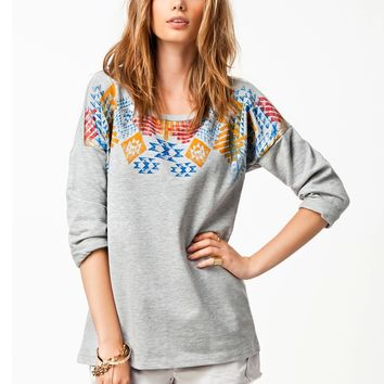 Gray Geometric Print Sweater