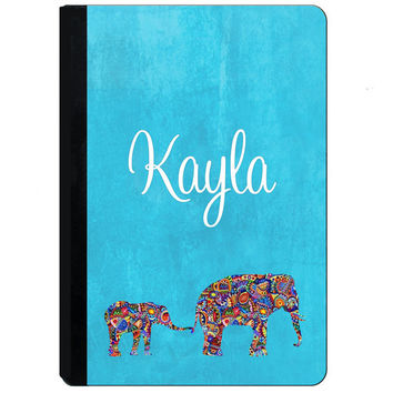Personalized iPad Case - Personalized iPad Cover - Personalized iPad Mini Case - iPad 2, 3, 4, Mini -  Elephants - Indian Ethnic