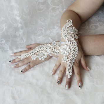 Wedding white lace beaded wrist cuffs / bracelets / wrist wraps