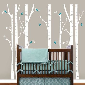 Modern Wall Sticker Birch Tree Birds Vinyl Wall Art Decals Removable Home Decor Wall Stickers Baby Nursery Bedroom Decoration