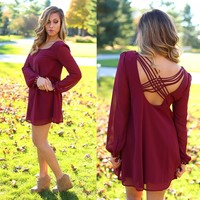 Crisscross Cutie Dress in Wine