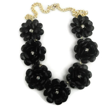 Rosette Necklace, Flower Necklace, Black Blossom Necklace, Black Bib Necklace, Wedding, Bridal, Floral Necklace, Black and Gold J.Crew