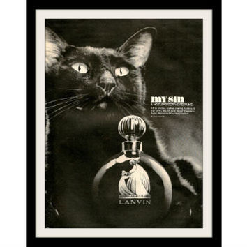 "1966 Lanvin Black Cat Perfume Ad ""My Sin"" Vintage Advertisement Print"