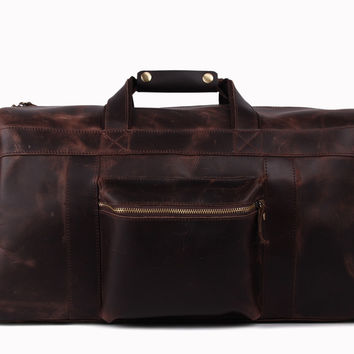 Milan Leather Travel Bag in Dark Brown