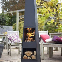 Backyard Steel Chiminea Garden Patio Wood Modern Heater Fireplace Outdoor New