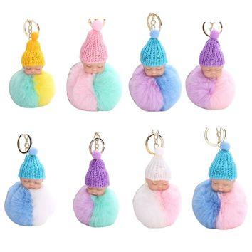 THINKTHENDO 1PC Sleeping Baby Key Ring Knitted Hat Keychain Key Buckle Plush Doll Bag Pendant Bag Accessories Bag Parts