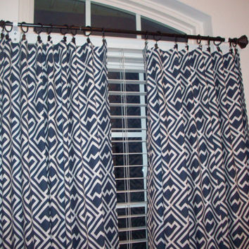 "Custom Bedroom curtain drapery Panels- 84"", 96"",108""-Name is Shakes Slub Premier Navy and white geometric Fabric - Lined or Unlined"