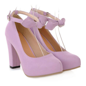 Sweet High Thick Heel Round Last Women Thin Shoes Buckle   purple