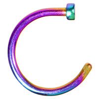 "18 Gauge 5/16"" Rainbow Anodized Titanium Nose Hoop 