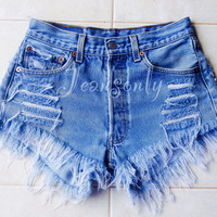 Levis high waisted denim shorts distressed frayed jean shorts by Jeansonly
