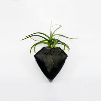 Black Diamond Geometric Magnetic Clay Bud Vase | wall pocket holds water flower air plant pen holder | home garden decor | in stock