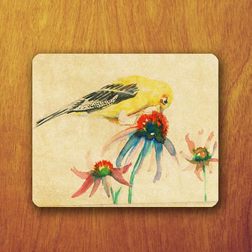 Big Bird Vintage Mouse Pad on Colorful Flower Beautiful Animal Painting Old Paper Office Pad Work Accessory Personalized Custom Gift