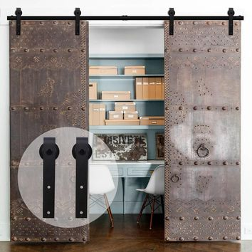 LWZH European Style Wood Barn Door 6FT/6.6FT/7FT/7.5FT/9FT Black Steel Sliding Barn Door J- Shaped Track Roller for Double Door
