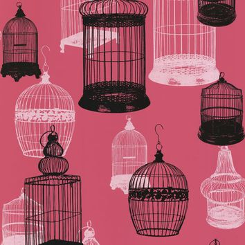 Sample Avian Pink Bird Cages Wallpaper design by Brewster Home Fashion – BURKE DECOR