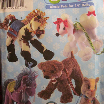 SALE Uncut Simplicity Sewing Pattern, 5682! Build a Horse/Dog/Cat Stuffed Animals/Toys/Children's Stuffed Pets