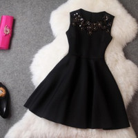 Winter Dress Red Sleeveless Sequined Mini Dresses Black Princess Office Casual Women Dress [9852938383]