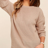 Open back long sleeve full clear solid color sweater sweater top