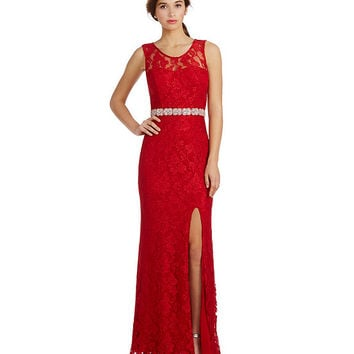 Jodi Kristopher Illusion Lace Bead Waist Gown | Dillards