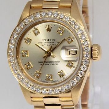 Rolex Datejust President 18k Yellow Gold Silver Diamond Ladies Watch 69178