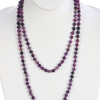 Purple Natural Stone Bead Extra Long Wraparound Necklace