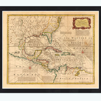 Old Map of Caribbean Area Antillas Gulf of Mexico Nicaragua, 1720