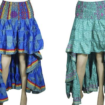 Mogul Interior Shakira Womens Hi Low Green,Blue Skirts Silky Bohemian Gypsy Full Flare Summer Dress Lot of 2